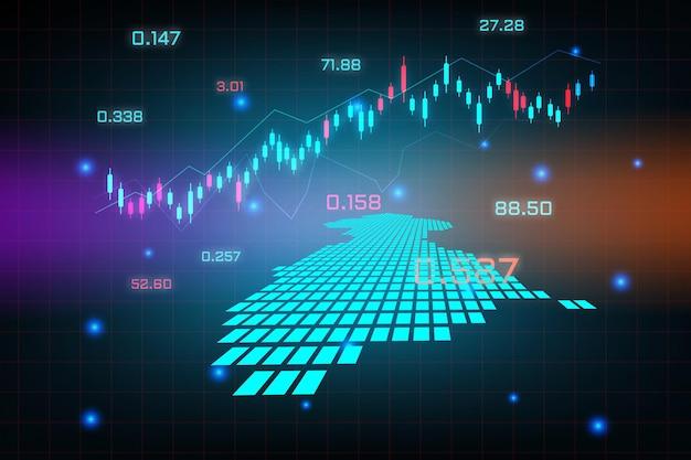 ガイアナマップの金融投資コンセプトの株式市場の背景または外国為替取引ビジネスグラフチャート。