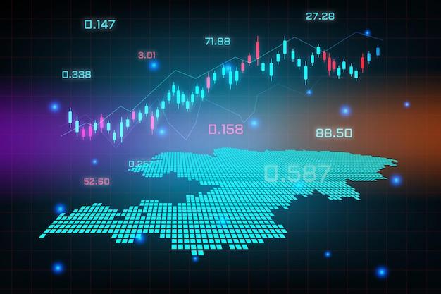 Фон фондового рынка или форекс, торгующий бизнес-диаграммой для концепции финансовых инвестиций карты кыргызстана. бизнес-идея и дизайн инновационных технологий.