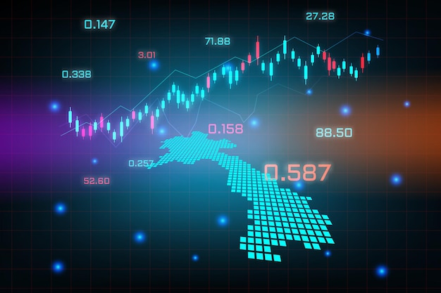 Фон фондового рынка или форекс, торгующий бизнес-диаграммой для концепции финансовых вложений карты лаоса. бизнес-идея и дизайн инновационных технологий.