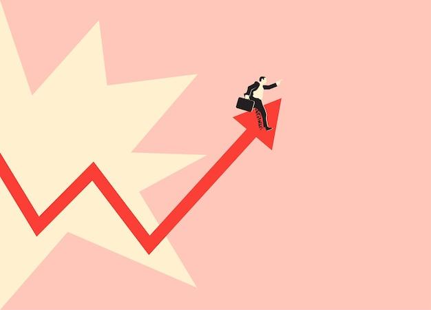株式市場のチャートの矢印に乗っている株式市場のブローカーやビジネスマン。ベクトルeps10イラスト