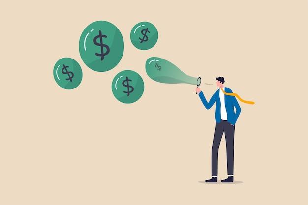 주식 시장 거품, 욕심 많은 투자자 또는 과대 평가 된 회사 개념의 투기에서 상승하는 주가, 욕심 많은 사업가 투자자가 공기 중으로 거품을 불고 있습니다.