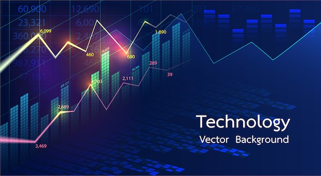 Stock market candlestick financial analysis abstract background.