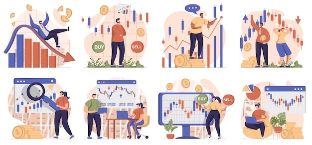 Коллекция сцен на фондовом рынке. люди занимаются торговлей, вкладывают деньги, покупают.