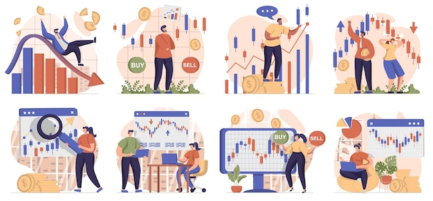 Stock market collection of scenes isolated people are engaged in trading invest money buy