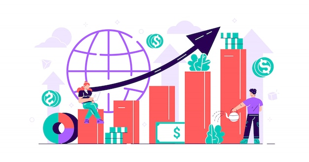 Stock market concept. money growth persons with positive and successful indicators. global investment business value improvement. finance and economy profit with coins. flat mini  illustration