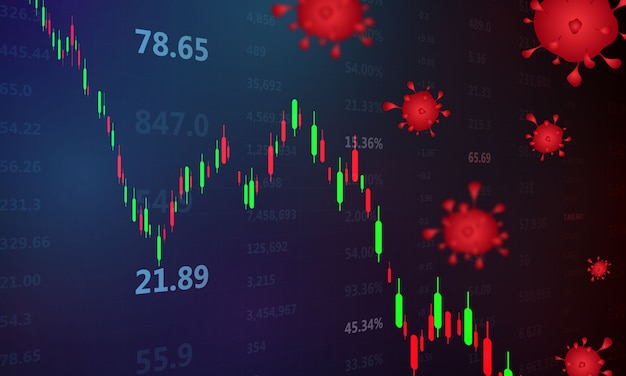 Stock market crash caused by the coronavirus, economic graph with diagrams, business and financial concepts and reports, abstract blue technology communication concept background