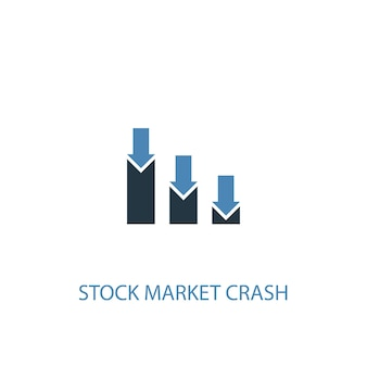 Stock market crash concept 2 colored icon. simple blue element illustration. stock market crash concept symbol design. can be used for web and mobile ui/ux