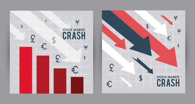 Обвал фондового рынка со стрелками вниз и барами статистики