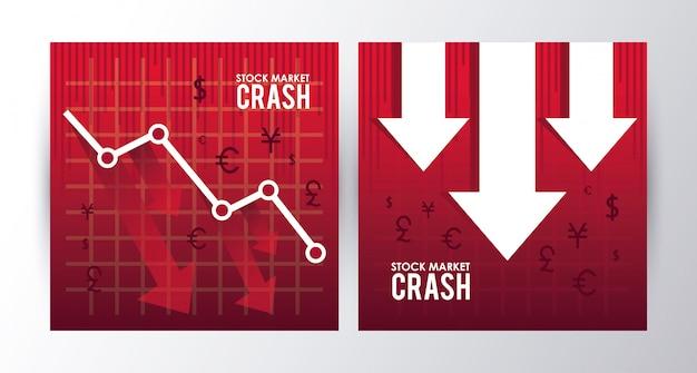 Stock market crash with arrows down