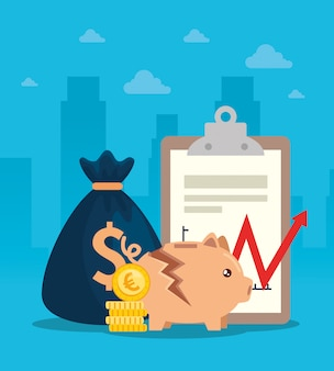 Stock market crash with piggy bank and business elements