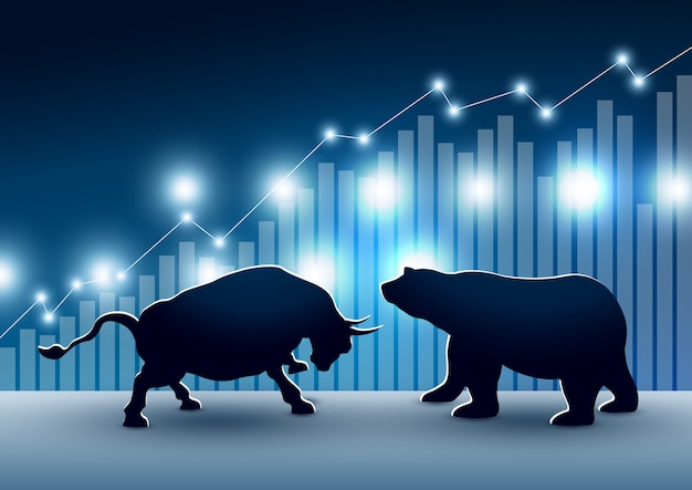 Stock market design of bull and bear with graph and chart