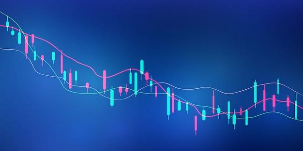Фондовый рынок, экономический график с диаграммами, бизнес и финансовые концепции и отчеты, абстрактные технологии коммуникации концепции фон