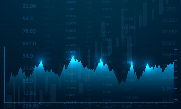 Stock market, economic graph with diagrams, business and financial concepts and reports, abstract blue technology communication concept background