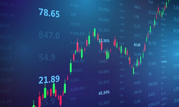 Stock market, economic graph with diagrams, business and financial concepts and reports, abstract blue technology communication concept
