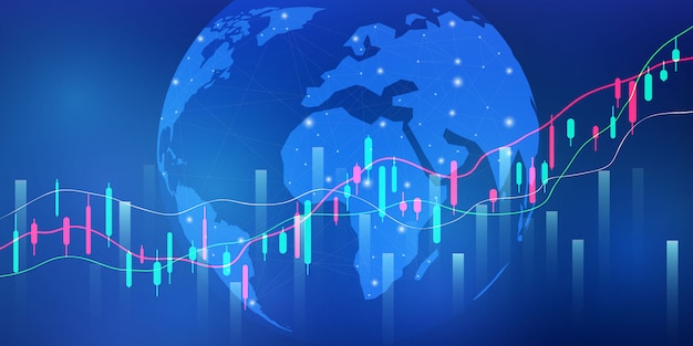Stock market, economic graph with diagrams, business and financial concepts and reports, abstract technology communication concept   background