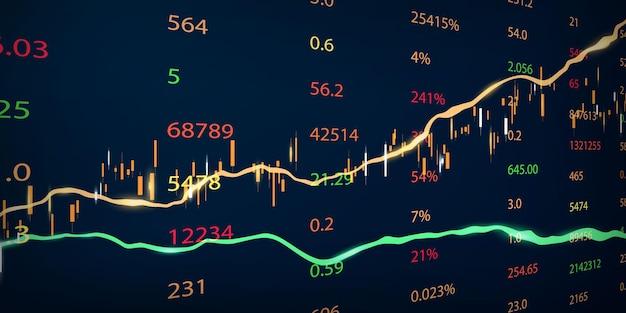 Фондовый рынок, экономический график с диаграммами