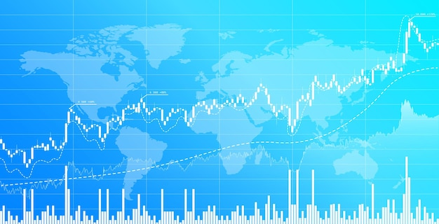 Stock market and exchange candlestick chart financial investment trading background