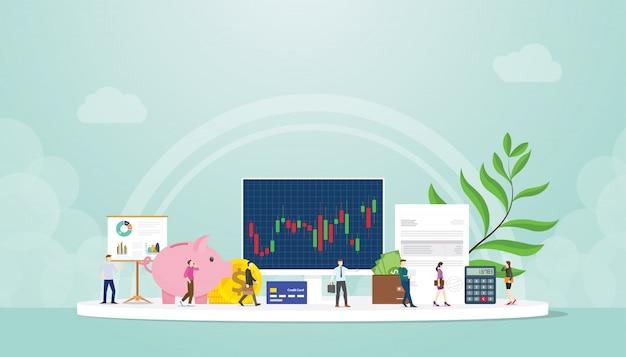 現代のフラットスタイルのコンピューター画面上の人々のビジネスマンとグラフグラフと取引株式市場金融概念