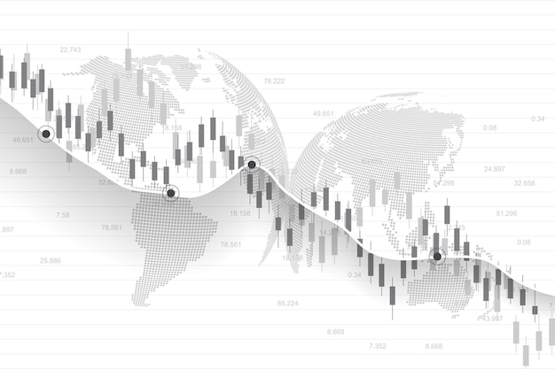 Stock market or forex trading graph in graphic concept for financial investment or economic trends business idea design. worldwide finance background. vector illustration.