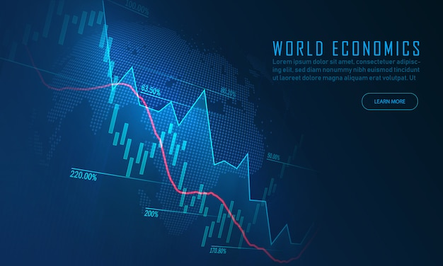 Stock market or forex trading graph in graphic