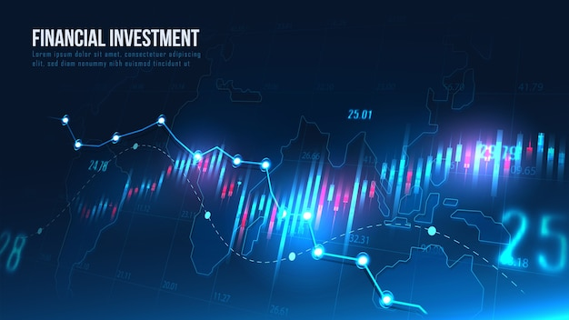 Stock market or forex trading indicators with global map in concept