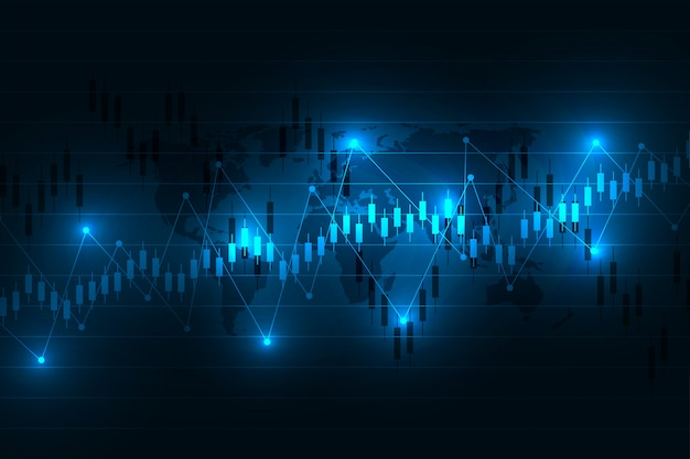 Stock market graph or forex trading chart for business and financial concepts, reports and investment on dark background .