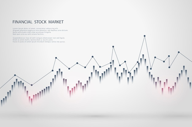 Stock market graph or forex trading chart for business and financial concepts reports and investment on grey background