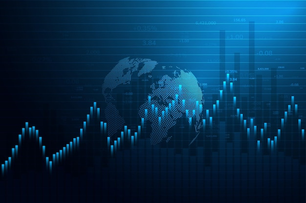 Stock market graph or forex trading chart for business and financial concepts reports and investmentjapanese candles