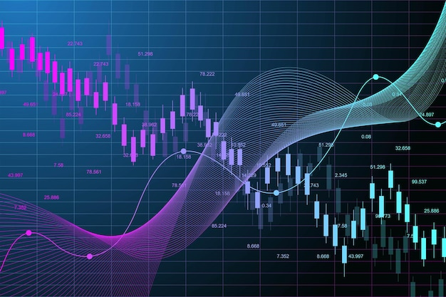 Stock market graph or forex trading chart for business and financial concepts. stock market data. bullish point, trend of graph. vector illustration