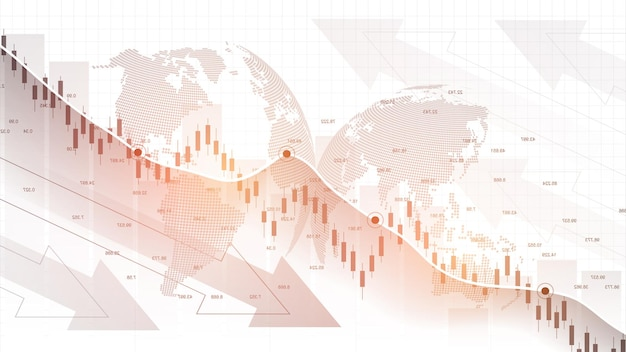 Stock market graph or forex trading chart