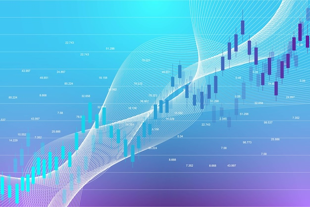 График фондового рынка или график торговли форекс для бизнес-концепций и финансовых концепций. абстрактные финансы фон инвестиций или бизнес-идея экономических тенденций. данные фондового рынка. векторная иллюстрация.