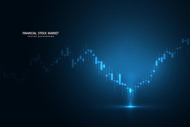 График фондового рынка или график торговли форекс для деловых и финансовых концепций, отчетов и инвестиций на темном фоне. векторная иллюстрация