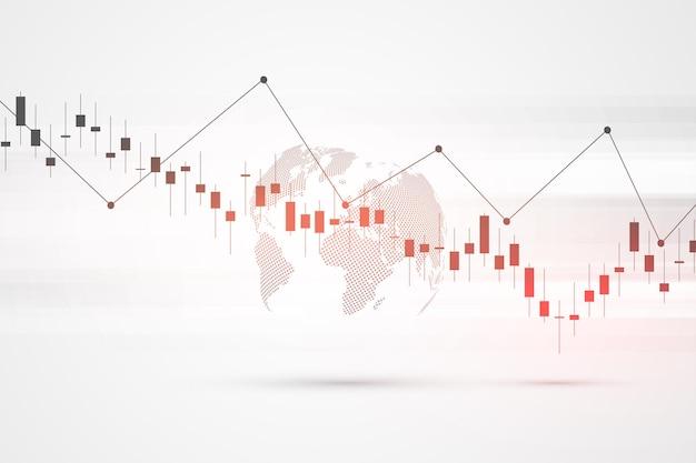 График фондового рынка или график торговли форекс для бизнес-концепций, финансовых концепций, отчетов и инвестиций на сером фоне. японские свечи. векторная иллюстрация