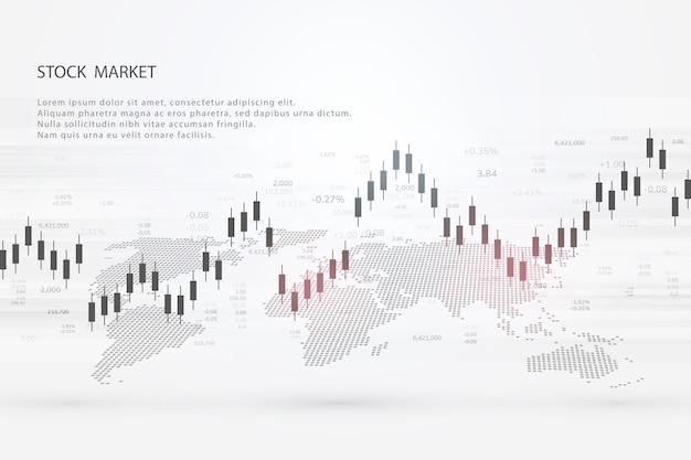 График фондового рынка или торговая диаграмма форекс для отчетов о бизнес-концепциях и финансовых концепциях и инвестиций на сером фоне