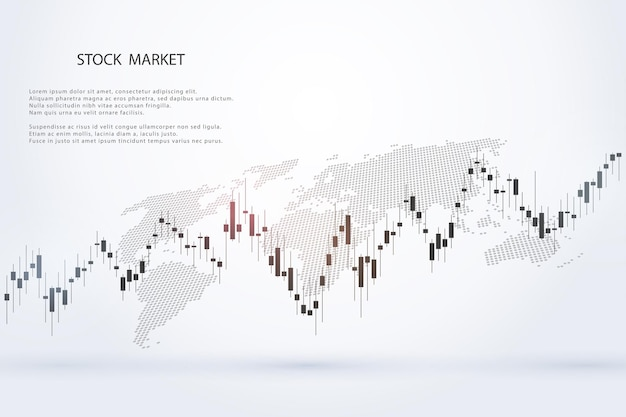비즈니스 및 금융 개념 보고서 및 회색 배경에 대한 투자에 대한 주식 시장 그래프 또는 외환 거래 차트