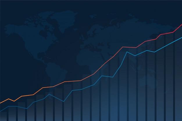 株式市場の投資グラフと世界地図の背景。