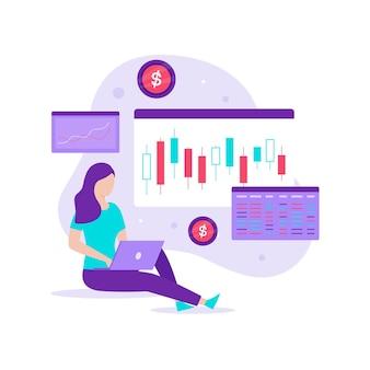 Концепция дизайна иллюстрации графа инвестиционной торговли фондового рынка. иллюстрация для веб-сайтов, целевых страниц, мобильных приложений, плакатов и баннеров.