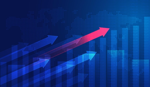 금융 투자에 적합한 그래픽 개념의 주식 시장 투자 거래 그래프