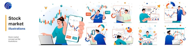Stock market isolated set financial statistics market research investments of scenes in flat