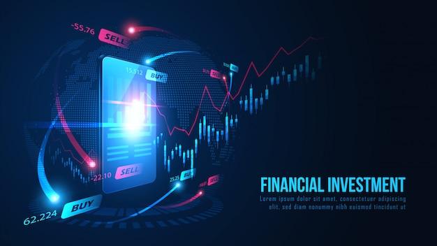 Фондовый рынок или форекс онлайн трейдинг график на смартфон фоне концепции