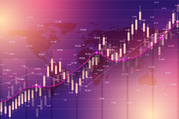 Диаграмма графика торговли фондового рынка или форекс, подходящая для концепции финансовых инвестиций. фон тенденции экономики для бизнес-идеи. абстрактный фон финансов. векторная иллюстрация.