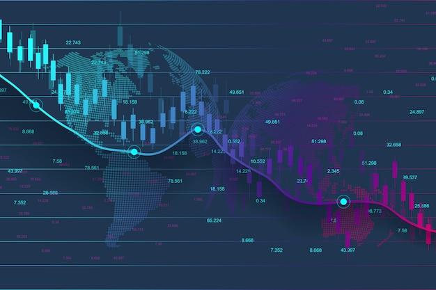 График фондового рынка или форекс, подходящий для концепции финансовых инвестиций. фон тенденции экономики для бизнес-идеи. абстрактный фон финансов. векторная иллюстрация.