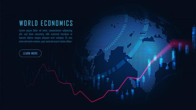 주식 시장 또는 외환 거래 그래프 개념