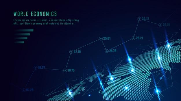 未来的な概念の株式市場または外国為替取引グラフ