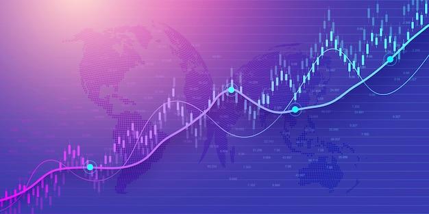 金融投資または経済動向ビジネスアイデアデザインのグラフィックコンセプトの株式市場または外国為替取引グラフ。世界的な金融の背景。ベクトルイラスト。