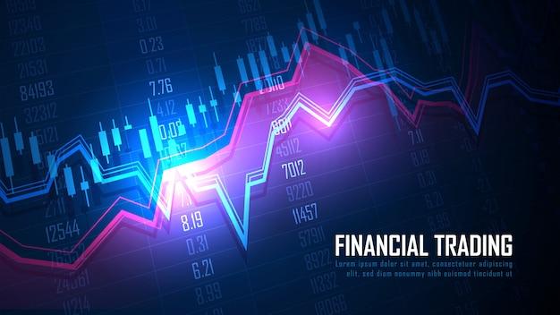 金融投資に適したグラフィックコンセプトの株式市場または外国為替取引のグラフ