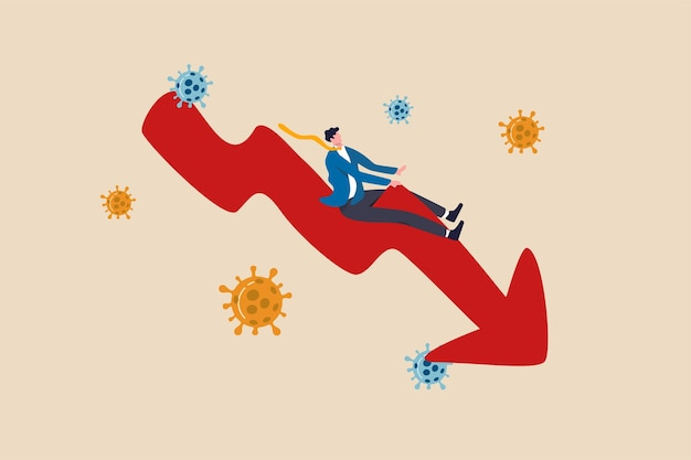 Stock market plunge, business bankrupt or economic recession due to coronavirus outbreak covid-19 pandemic concept, depressed businessman riding down turn red arrow economics graph with virus pathogen