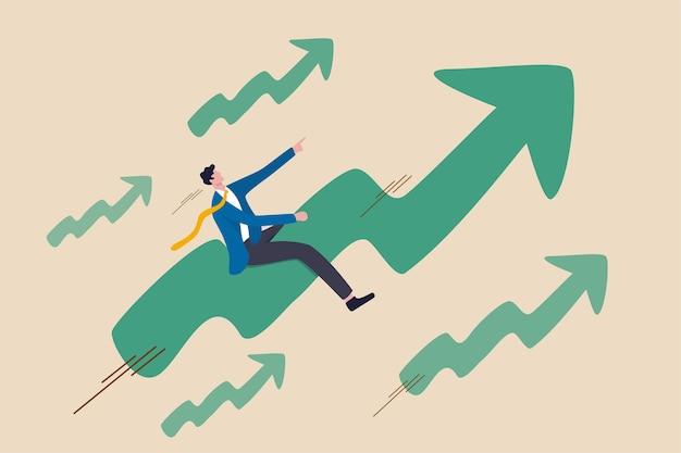 주식 시장 가격이 강세장에서 급등, 긍정적 인 성장 비즈니스 또는 승자 투자자 개념에 대한 야망, 빠른 속도로 녹색 상승 그래프를 맨 위로 타는 자신감 사업가.