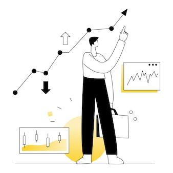 株式市場取引ビジネスベクトルイラストフラットライン