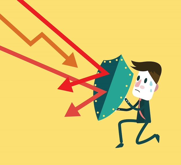 Stock market trading down to attack businessman. investment and financial concept.